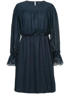 платье со сборками с ажурной вышивкой Goen.J