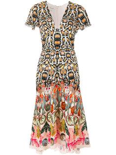 платье с принтом и глубоким вырезом  Temperley London