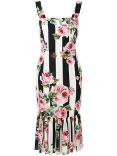 платье в полоску с цветочным принтом  Dolce & Gabbana