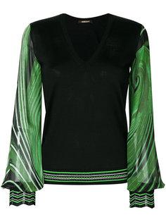пуловер с V-образным вырезом с принтом Roberto Cavalli