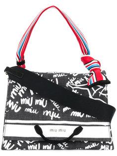 """джинсовая сумка-тоут с логотипом в стиле """"граффити"""" Miu Miu"""