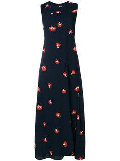 длинное платье с вышивкой и вырезом-рейсер  Victoria Beckham