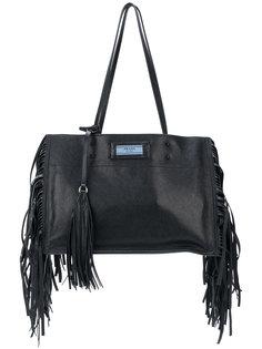 сумка на плечо с бахромой Prada