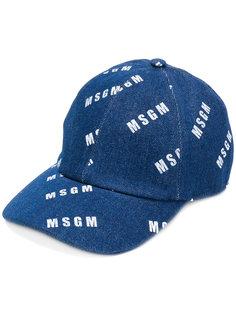 джинсовая кепка с логотипом  MSGM
