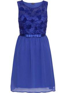 Платье вечернее с кружевной аппликацией, укороченный покрой (синий) Bonprix