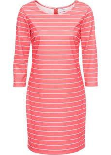 Платье в полоску (нежно-омаровый/белый) Bonprix