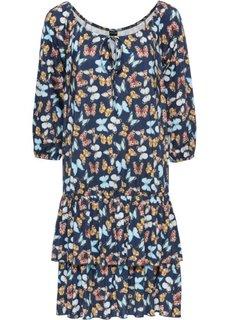 Платье с воланами (индиго с рисунком) Bonprix