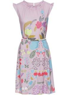 Платье + ремень (2 изд.) (розовый матовый с рисунком) Bonprix