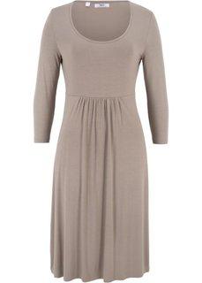 Платье из трикотажа с рукавом 3/4 (серо-коричневый) Bonprix