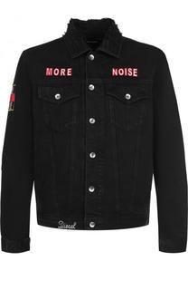 Джинсовая куртка с потертостями и контрастной отделкой Diesel