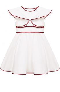 Хлопковое платье с оборками и широким поясом Oscar de la Renta
