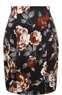 Мини-юбка с контрастным цветочным принтом Theory