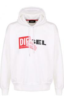 Хлопковая толстовка с логотипом бренда и капюшоном Diesel