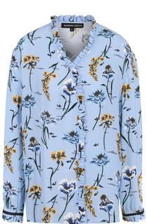 Блуза с V-образным вырезом и цветочным принтом Markus Lupfer