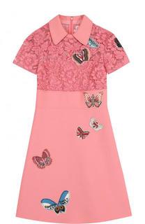 Приталенное платье-миди с кружевным лифом и отделкой в виде бабочек Valentino