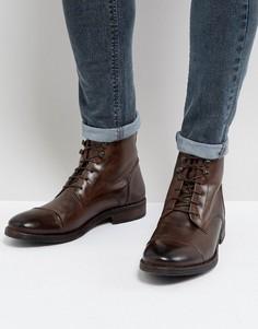 Коричневые кожаные ботинки в стиле милитари Base London Clapham - Коричневый