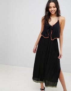 Пляжное платье макси с отделкой Anmol - Черный