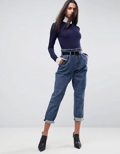 Суженные книзу джинсы с узором в елочку и ремнем ASOS - Синий