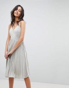 Платье с юбкой в складку Adelyn Rae Jolene - Серебряный
