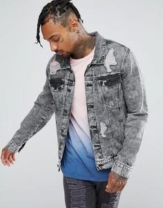 Джинсовая куртка с эффектом кислотной стирки и рваной отделкой Brooklyn Supply Co - Синий