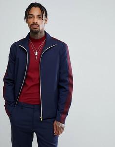 Темно-синяя спортивная куртка узкого кроя с полосками ASOS - Темно-синий