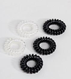 Набор из 5 небольших черных и прозрачных резинок-спиралей для волос ASOS - Мульти