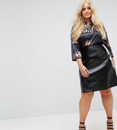 Виниловая мини-юбка Elvi - Черный