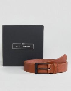 Светло-коричневый узкий кожаный ремень производства Англии ASOS - Рыжий