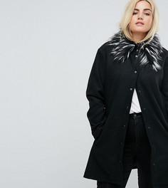 Пальто с воротником из искусственного меха Brave Soul Plus Davina - Черный