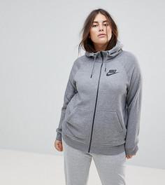 Худи серого цвета на молнии Nike Plus Rally - Серый