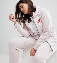Худи розового цвета на молнии Nike Plus - Розовый