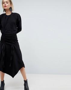 Трикотажное платье с присборенной драпировкой ASOS WHITE - Серый