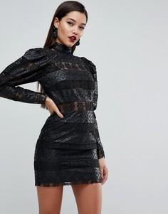 Платье мини с кружевными вставками ASOS EDITION - Черный