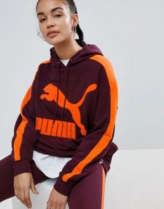 Худи бордового цвета с логотипом Puma Classics T7 - Красный
