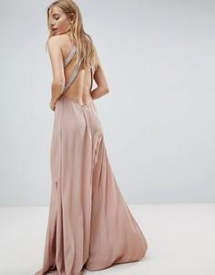 Декорированное платье макси с открытой спиной ASOS - Розовый