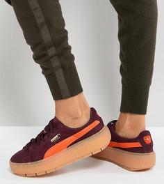 Бордово-оранжевые кроссовки на платформе Puma Trace - Черный