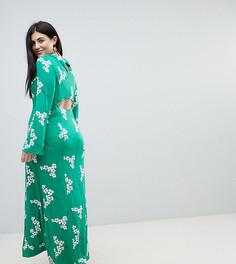 Зеленое чайное платье макси с открытой спиной и цветочным принтом ASOS CURVE - Мульти