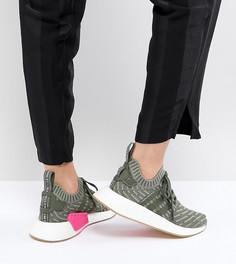 Женские зеленые кроссовки adidas Originals NMD R2 - Серый