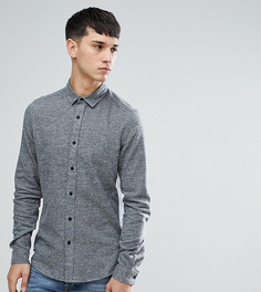 Темно-серая узкая саржевая рубашка ASOS TALL - Серый