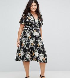 Платье миди с запахом и цветочным принтом Yumi Plus - Черный