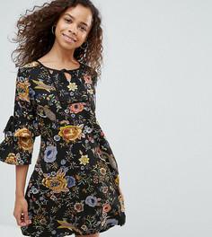Свободное платье с завязками на рукавах Yumi Petite - Черный