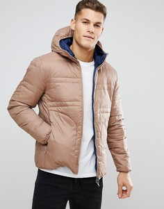 Серо-бежевая двусторонняя пуховая куртка с капюшоном United Colors of Benetton - Бежевый