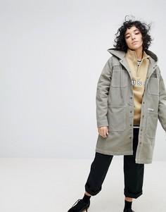 Длинное пальто с капюшоном и логотипом Stussy - Серый