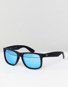 Вайфареры с зеркальными стеклами Ray-Ban 0RB4165 Justin 55 мм - Черный