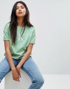Укороченный топ с логотипом Calvin Klein Jeans - Зеленый