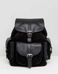 Черный рюкзак со вставками из искусственной овчины и карманом Glamorous - Черный