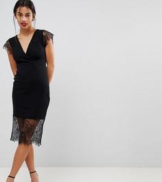 Платье-футляр с V-образным вырезом и кружевными рукавами ASOS PETITE - Черный