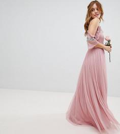 Платье макси из тюля с открытыми плечами и пайетками Maya Petite - Розовый