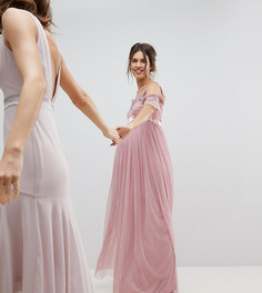 Платье макси из тюля с вырезами на плечах и отделкой пайетками Maya Maternity - Розовый