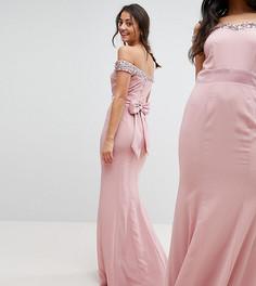 Платье макси с открытыми плечами, отделкой пайетками и бантом сзади Maya Tall - Розовый